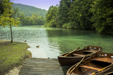 Wooden boats on the beautiful turquoise lake
