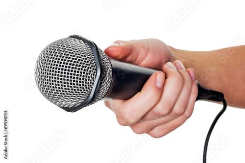 canvas print picture Frau hält Mikrofon