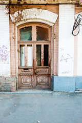 Wood old door in the centre of  Astrakhan Russia