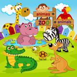 zoo animals  -  vector illustration, eps