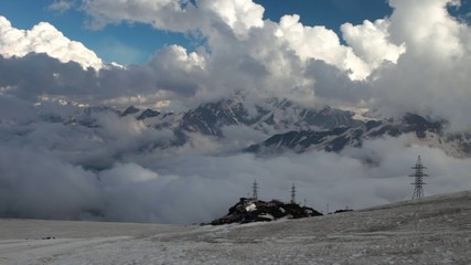 "the clouds over the shelter ""barrels"". Mt. Elbrus"