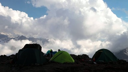 The camping of climbers. Mt. Elbrus