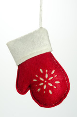 Christmas Ornament Glove with White Trim