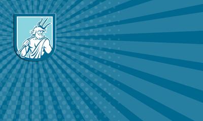 Business card Neptune Poseidon Trident Shield Retro