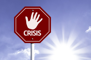 Stop Crisis red sign with sun background