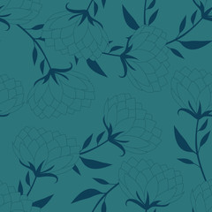 Old-fashioned flowers silhouette seamless background