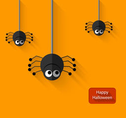 Happy Halloween Spiders flat Illustration