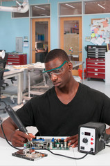 Man soldering