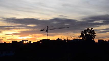Sunrise with crane construction in dawn. HD