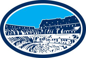 Coliseum Colosseum Rome Oval Woodcut