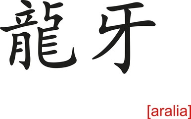 Chinese Sign for aralia