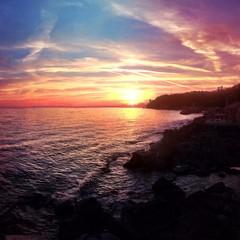 Amazing italian sunset at the sea