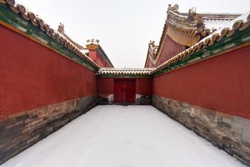 Winter scene of Forbidden City in Beijing, China.