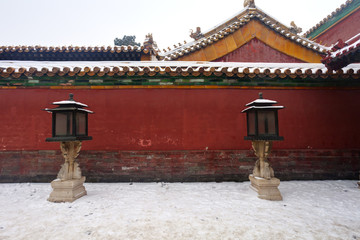 winter scene of Forbidden City in Beijing, China.