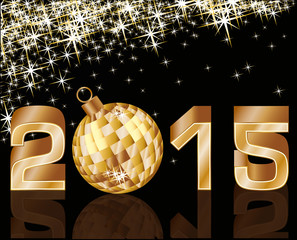 New 2015 Year with golden xmas ball, vector illustration