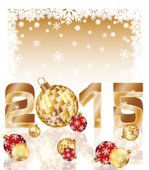 Happy new 2015 year card with xmas balls, vector illustration