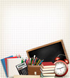 Back to school. Education background with school supplies. Vecto