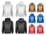 Set of black and white and colorful male hoodies with sample tex - 69600779