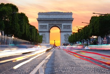 Champs-Élysées and the Arc de Triomphe at sunset, Paris, France