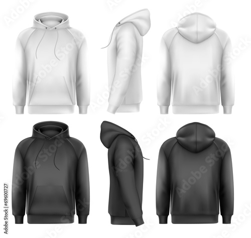 Set of black and white male hoodies with sample text space. Vect - 69600727