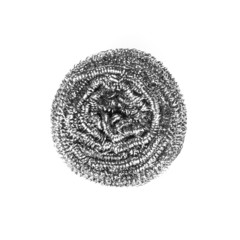 Stainless steel scourer isolated on white background