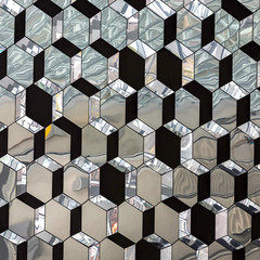Abstract glass crystallized mirror pattern