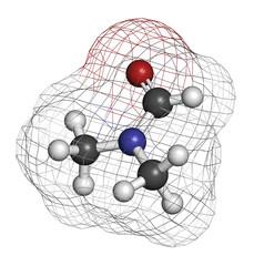 Dimethylformamide (DMF) chemical solvent molecule.