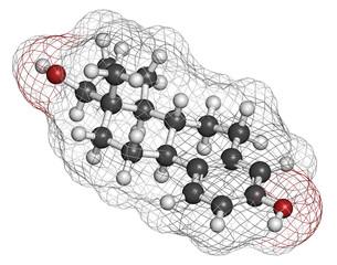Estradiol (estrogen) female sex hormone molecule.