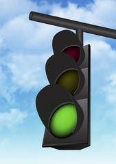the traffic light with a beautiful blue sky in background