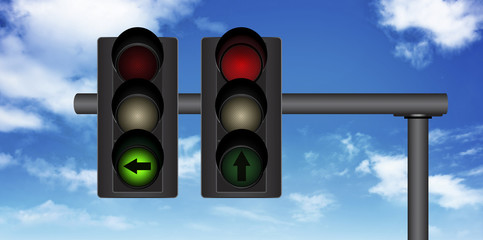 traffic light with a beautiful blue sky in background