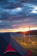 Camp before sunrise