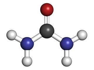 Urea (carbamide) molecule. Used in cosmetics, fertilizer;