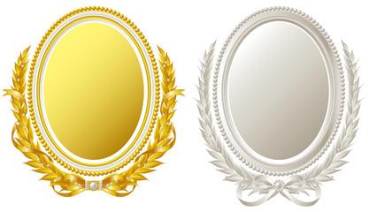 金銀の楕円形フレーム