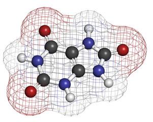 Uric acid molecule. High blood levels lead to gout disease.