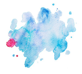 Abstract watercolor aquarelle hand drawn art paint on white