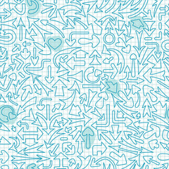 Seamless pattern with different arrows.