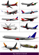 Collection of few kinds of aircraft on the air. Vector illustrat