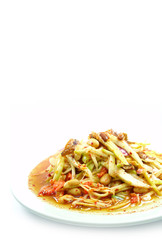 spicy mango salad with vegetable and chili