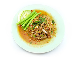 thai spicy minced meat salad on white background
