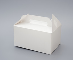 hand carry white box on grey background