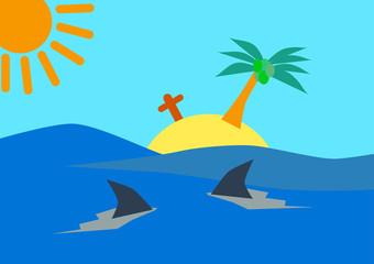 Island and Shark