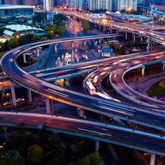Viaduct night in Shanghai
