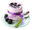 Healthy breakfast - yogurt with  blackberries and muesli served