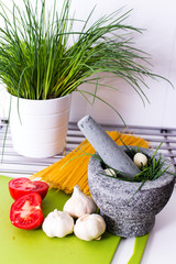 Delicious vegetables in the kitchen, before processing.