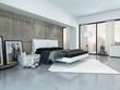 Modernes luxuriöses Schlafzimmer mit weißem Bett