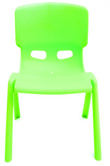 green plastic chair for children on white, front view