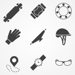 Vector icons for accessories for longboarders