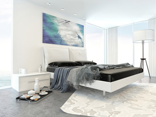 Bed in Modern White Bedroom in Apartment