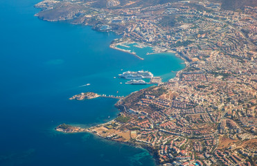 Beautiful perfect view of Kusadasi islands from aircraft