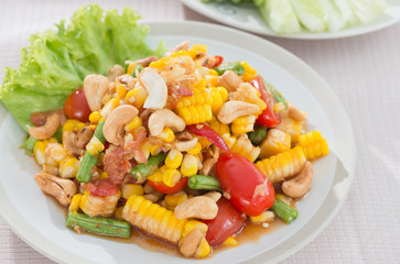 spicy papaya salad with corn